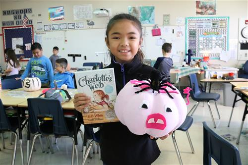 Third graders design pumpkins based upon characters in a book.